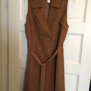 Chico's Long Belted Sleeveless Trench Vest